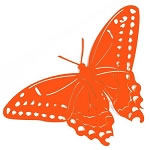 Jumbo Butterfly Metal Yard Art / Garden Stake - Orange