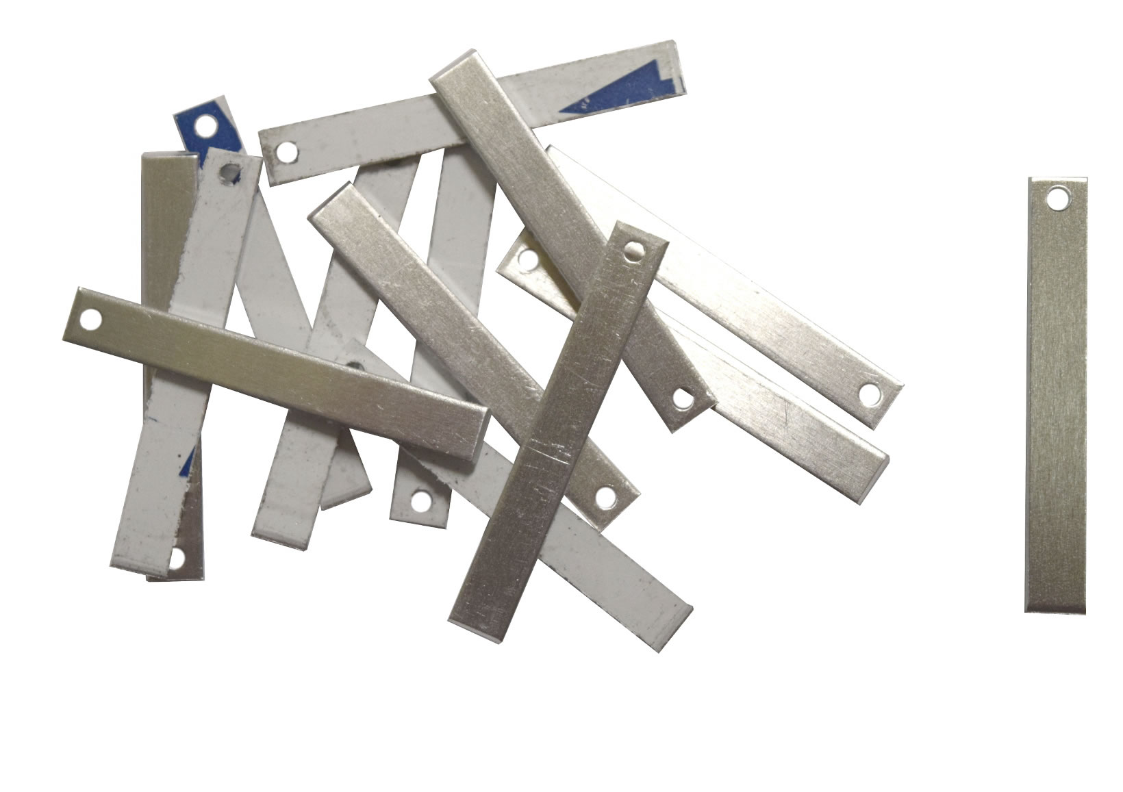 RMP Stamping Blanks Aluminum .063 Inch 50 Pack PVC Coating on both sides 14 Gauge 1//2 Inch x 2 Inch Rectangle With One Hole
