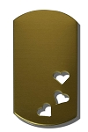RMP Stamping Blanks, 1 Inch x 2 Inch Dog Tag with Three 1/4 Inch Hearts, 260 Brass 0.032 Inch (20 Ga.) - 20 Pack