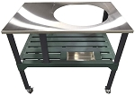 RMP Universal Steel Grill Cart for Round Ceramic Grill, Fits a Large Big Green Egg Grill, Stainless Steel Finish, With Rotating and Locking Wheels