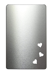 RMP Stamping Blanks, 2-1/8 Inch x 3-3/8 Inch Rectangle Wallet Card with Three 1/4 Inch Bottom Hearts, Aluminum 0.063 Inch (14 Ga.) - 10 Pack
