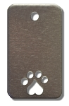 RMP Stamping Blanks, 7/8 Inch x 1-1/2 Inch Rectangle with Rounded Corners, Bottom Paw Print and Top Hole, Aluminum 0.063 Inch (14 Ga.) - 50 Pack