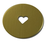 RMP Stamping Blanks, 1 Inch Round with 1/4 Inch Center Heart, 260 Brass 0.032 Inch (20 Ga.) - 20 Pack