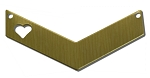 RMP Stamping Blanks, 1-1/4 Inch x 1/2 Inch Chevron with 1/4 Inch Left Side Heart and Two Holes, 260 Brass 0.032 Inch (20 Ga.) - 20 Pack