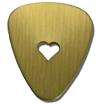RMP Stamping Blanks, Guitar Pick with 1/4 Inch Center Heart, 260 Brass 0.032 Inch (20 Ga.) - 20 Pack