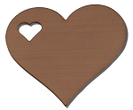 RMP Stamping Blanks, 1-1/4 Inch Heart with 1/4 Inch Left Side Heart, 16 Oz. Copper 0.021 Inch (24 Ga.) - 10 Pack