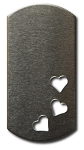 RMP Stamping Blanks, 1 Inch x 2 Inch Dog Tag with Three Bottom Corner Hearts, Aluminum 0.063 Inch (14 Ga.) - 50 Pack