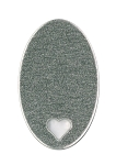 RMP Stamping Blanks, 7/8 Inch x 1-3/8 Inch Oval with Heart, Aluminum 0.063 Inch (14 Ga.) - 50 Pack