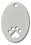 RMP Stamping Blanks, 7/8 Inch x 1-3/8 Inch Oval with Bottom Paw Print and Top Hole, Aluminum 0.063 Inch (14 Ga.) - 50 Pack