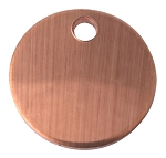 RMP Stamping Blanks, 5/8 Inch Round with One Hole, 24 Oz. Copper 0.032 Inch (21 Ga.) PVC on Both Sides - 20 Pack