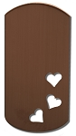 RMP Stamping Blanks, 1 Inch x 2 Inch Dog Tag with Three 1/4 Inch Hearts, 16 Oz. Copper 0.021 Inch (24 Ga.) - 10 Pack