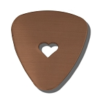 RMP Stamping Blanks, 1 Inch x 1-3/16 Inch Guitar Pick with 1/4 Inch Center Heart, 16 oz. Copper 0.021 Inch (24 Ga.) - 10 Pack