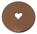 RMP Stamping Blanks, 1 Inch Round with 1/4 Inch Center Heart, 16 oz. Copper 0.021 Inch (24 Ga.) - 10 Pack