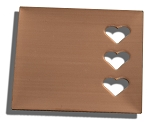 RMP Stamping Blanks, 1-1/4 Inch Square with Three 1/4 Inch Right Side Hearts, 16 Oz. Copper 0.021 Inch (24 Ga.) - 10 Pack