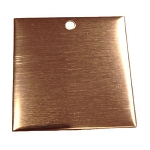 RMP Stamping Blanks, 1-1/2 Inch Square with One Hole, 16 oz. Copper 0.021 Inch (24 Ga.) - 10 Pack