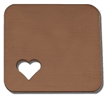 RMP Stamping Blanks, 1 Inch Square with Rounded Corners and 1/4 Inch Bottom Left Corner Heart, 16 Oz. Copper 0.021 Inch (24 Ga.) - 10 Pack