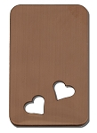 RMP Stamping Blanks, 7/8 Inch x 1-1/2 Inch Rectangle with Rounded Corners and Two 1/4 Inch Angled Bottom Hearts, 16 Oz. Copper 0.021 Inch (24 Ga.) - 10 Pack