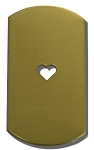RMP Stamping Blanks, 1 Inch x 2 Inch Dog Tag with 1/4 Inch Center Heart, 260 Brass 0.032 Inch (20 Ga.) - 20 Pack