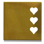 RMP Stamping Blanks, 1-1/4 Inch Square with Three 1/4 Inch Right Side Hearts, 260 Brass 0.032 Inch (20 Ga.) - 20 Pack