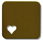 RMP Stamping Blanks, 1 Inch Square with Rounded Corners and 1/4 Inch Bottom Left Corner Heart, 260 Brass 0.032 Inch (20 Ga.) - 20 Pack