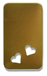 RMP Stamping Blanks, 7/8 Inch x 1-1/2 Inch Rectangle with Rounded Corners and Two 1/4 Inch Bottom Angled Hearts, 260 Brass 0.032 Inch (20 Ga.) - 20 Pack
