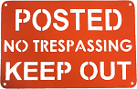 RMP No Trespassing, Keep Out Sign - Orange