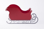 Large Santa Sleigh Christmas Decoration Centerpiece With Scroll Base - Rudolph Red