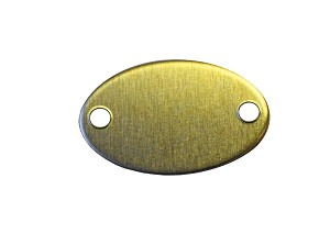 "RMP Stamping Blank, 0.586"" x 0.921'' Oval w/ Two Holes, Brass 0.032 (20 Ga.) - 20 Pack"