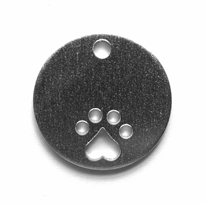 RMP Stamping Blanks, 1 Inch Round with Paw Print and Hole, Aluminum 0.063 Inch (14 Ga.) - 50 Pack