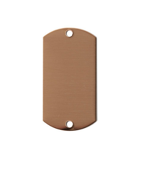 "RMP Stamping Blanks, 1"" x 2"" Dog Tag w/ Two 0.075"" Holes, 16 Oz. Copper 0.021"" Thickness (24 Ga.) 30 Pack - SALE"