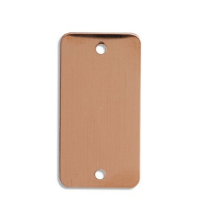 "RMP Stamping Blanks, 1 Inch x 2 Inch Rectangle with Rounded Corner and Two 0.075 Inch Holes, 24 Oz. Copper 0.032"" (21 Ga.) - 10 Pack - SALE"