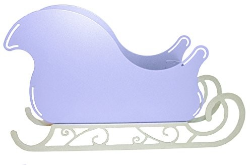 Large Santa Sleigh Christmas Decoration Centerpiece With Scroll Base - Frosty Lavender